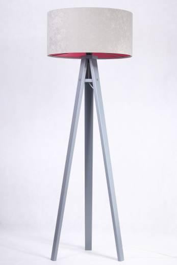 Stehlampe Grau Pink Holz 145cm Retro Wohnzimmer