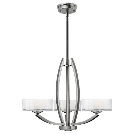 Kronleuchter LOU Nickel Weiß 3xE27 Esstisch Lampe