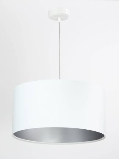 Pendelleuchte Stoff Weiß Beleuchtung Esstisch rund Retro