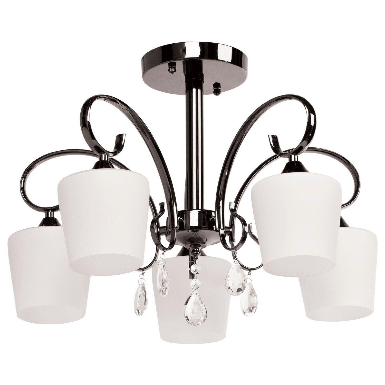 Wohnzimmer Deckenlampe in Nickel Weiß Glas Schirm