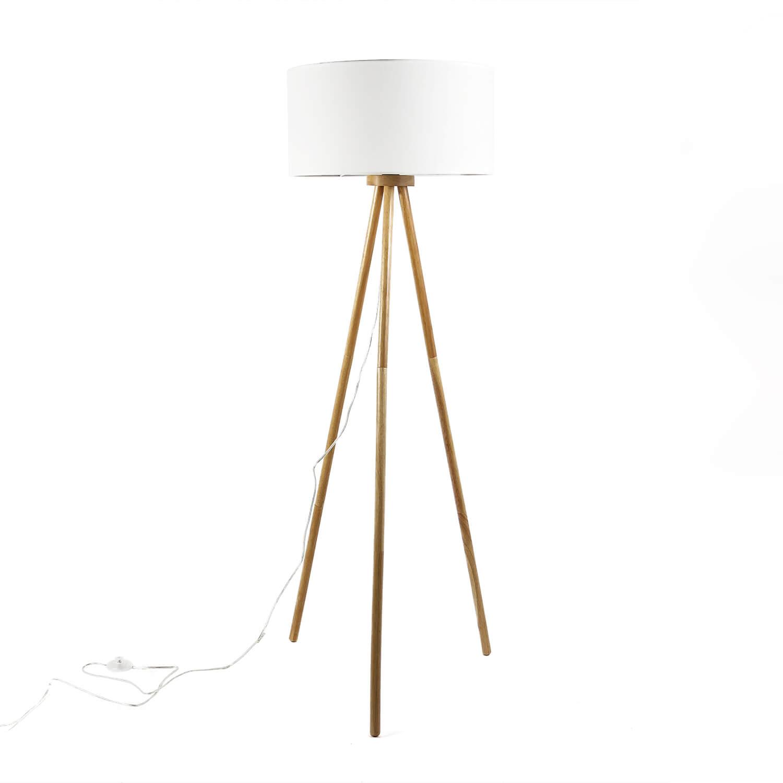 Dreibein Stehlampe Holz Stoff Skandinavisch FLORA