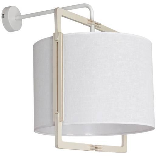 Wandleuchte Weiß Stoff Holz Wandlampe Innen