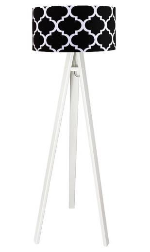 Dreibein Stehlampe ERIK Weiß Schwarz 140cm Retro Wohnzimmer