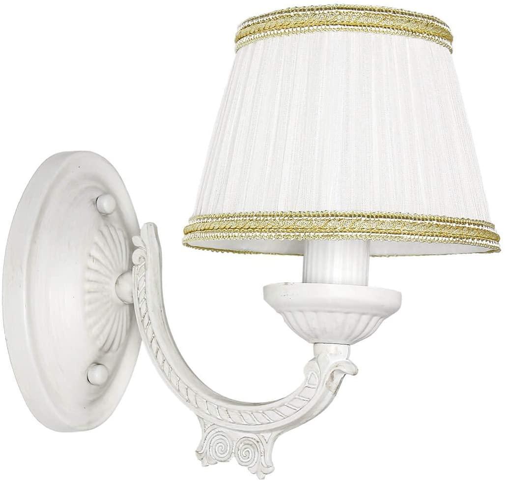 Wandlampe Shabby Weiß Stoff Klassisch E14 SOFIA