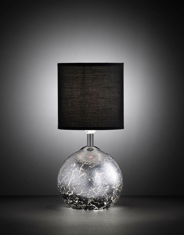Lichtdurchlässige Tischleuchte in Silber Optik Schirm Schwarz