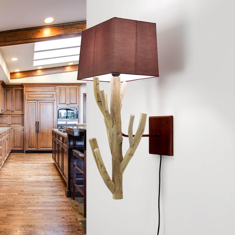 Treibholz Lampe Wand Stoff Schirm Handarbeit SURIN