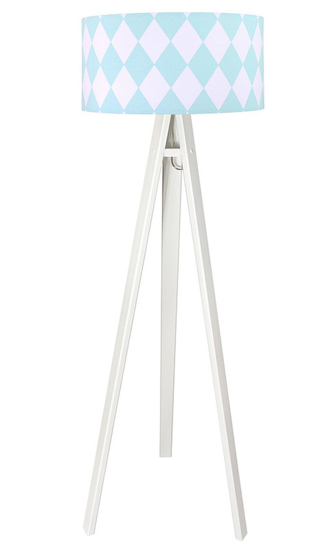 Stehlampe Weiß Blau 140cm Dreibein Wohnzimmer Retro