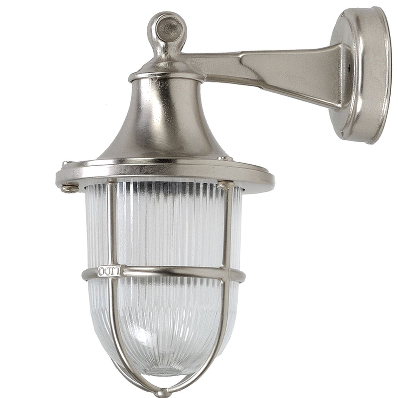 Nickel Wandlampe Echt-Messing IP64 Außen wetterfest
