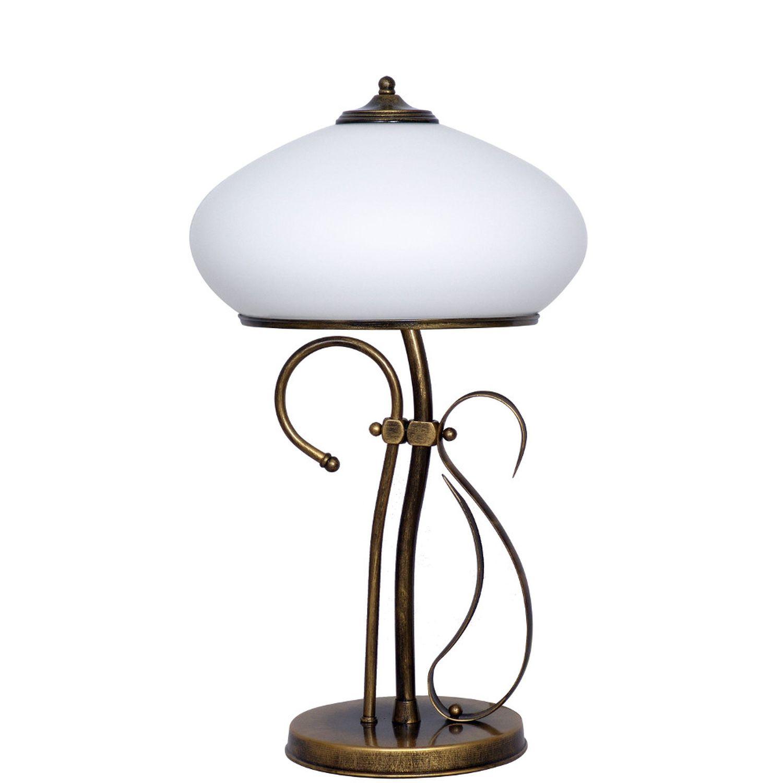 Tischlampe Glas Metall 60cm Jugendstil Leuchte