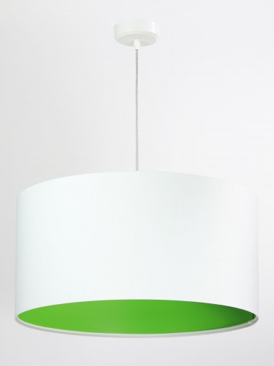 Wohnzimmer Hängelampe Weiß Grün Stoff rund Retro