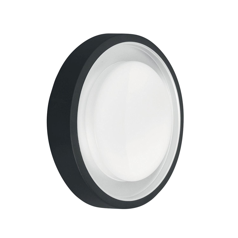 LED Wandleuchte Anthrazit Weiß IP54 rund Lichtmuster