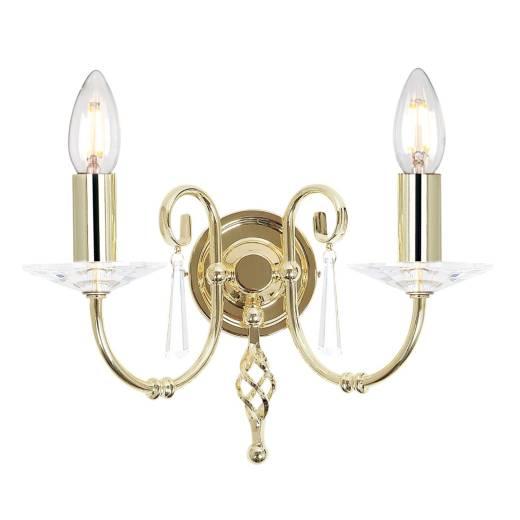 Designer Wandlampe CANDELA in Messing mit Kristall