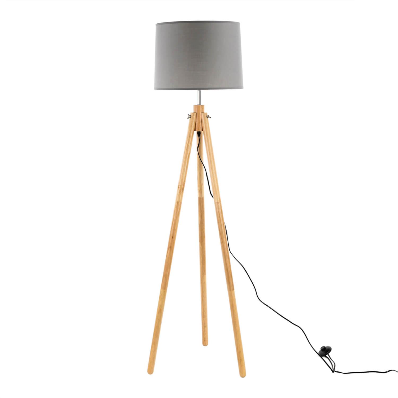 Stehlampe Dreibein Holz Stoff Skandinavisch FLORA