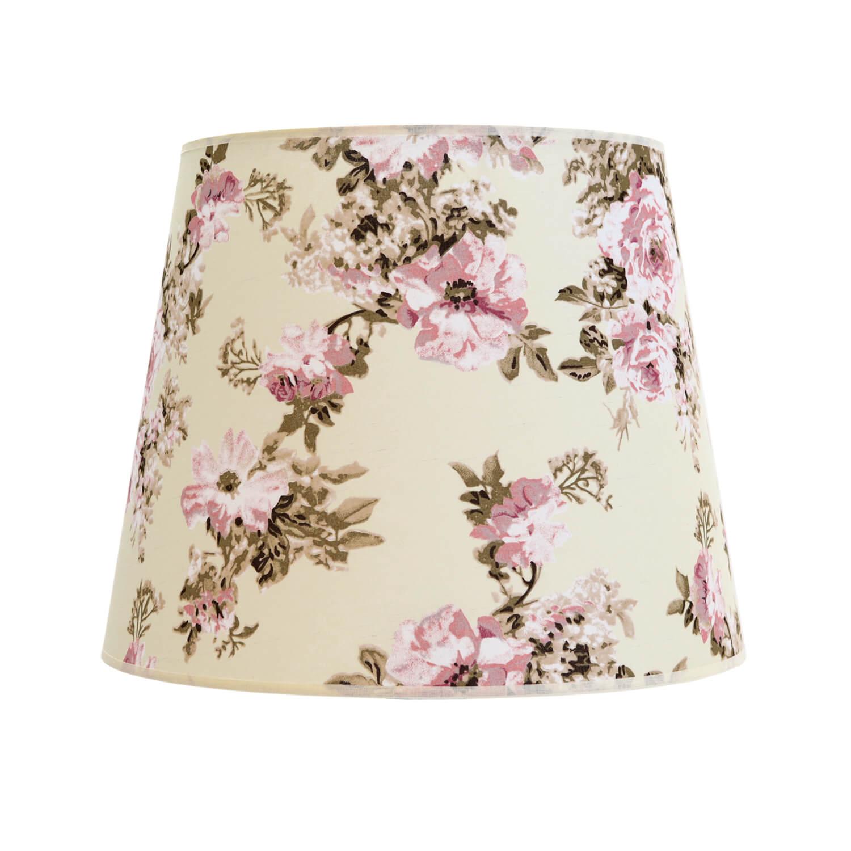 Stoff Lampenschirm Stehlampe Weiß Rosa Blumen E27