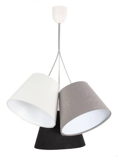 Pendelleuchte Grau Schwarz Stoff 3-flmg Lampe