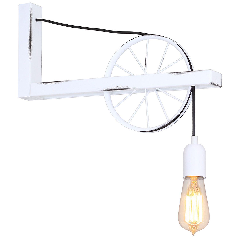Wandleuchte Vintage Innenlampe Weiß Rustikal E27