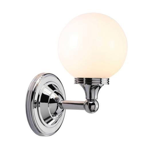 LED Badleuchte Echt-Messing Glas in Chrom IP44