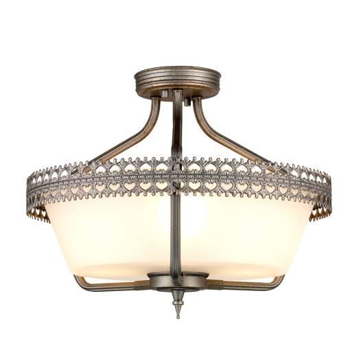 Deckenlampe Glas Metall handbemalt Ø44cm Wohnzimmer