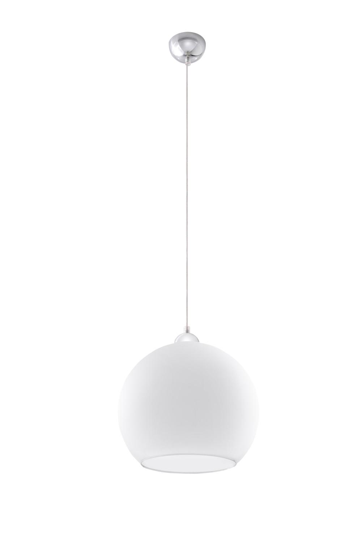 Pendelleuchte mit Glasschirm in Weiß