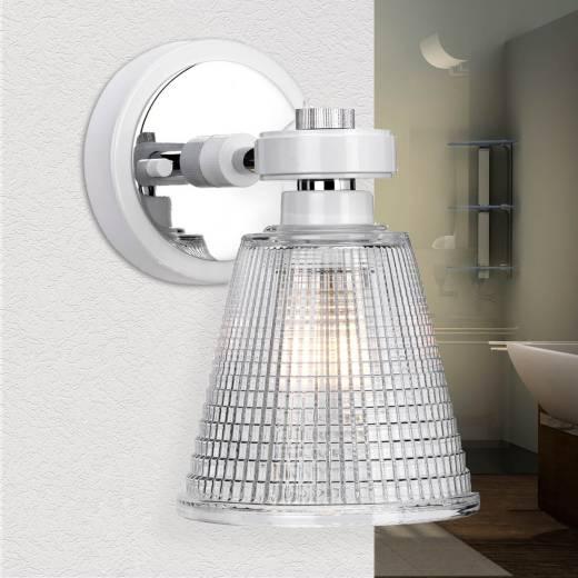 LED Badezimmerleuchte Glas IP44 in Chrom verstellbar