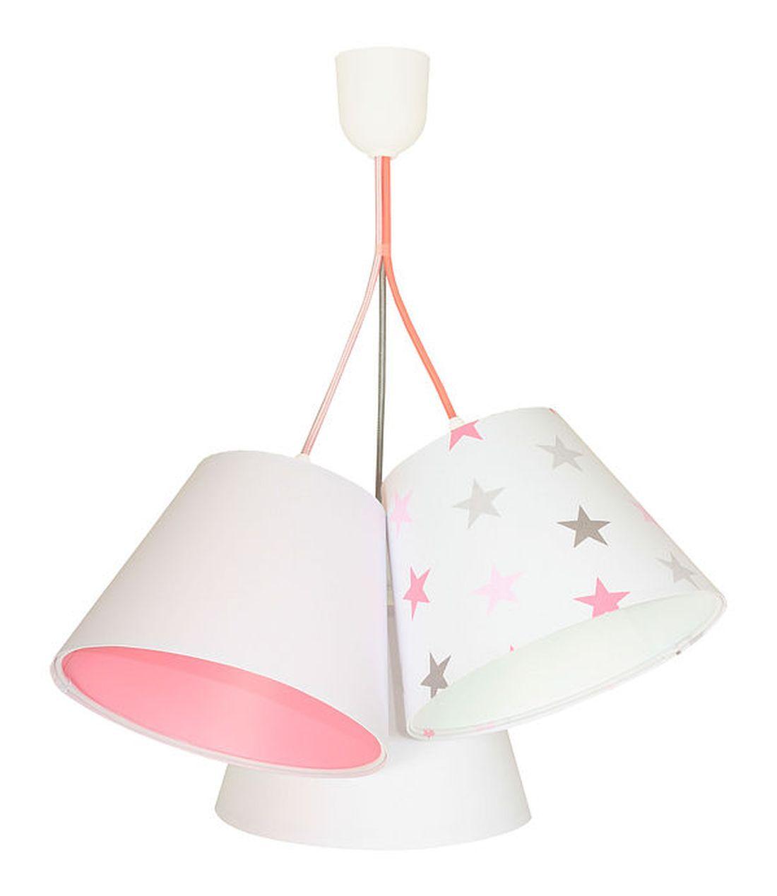 Hängelampe Schirm Weiß Rosa Sterne Stoff