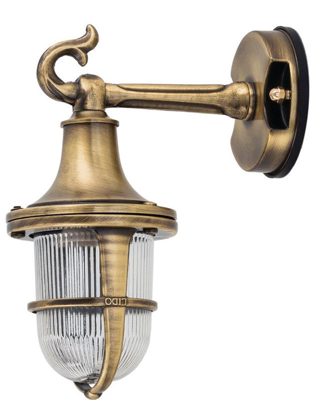 Wandlampe Außen Messing Riffelglas Hof Maritim IP64