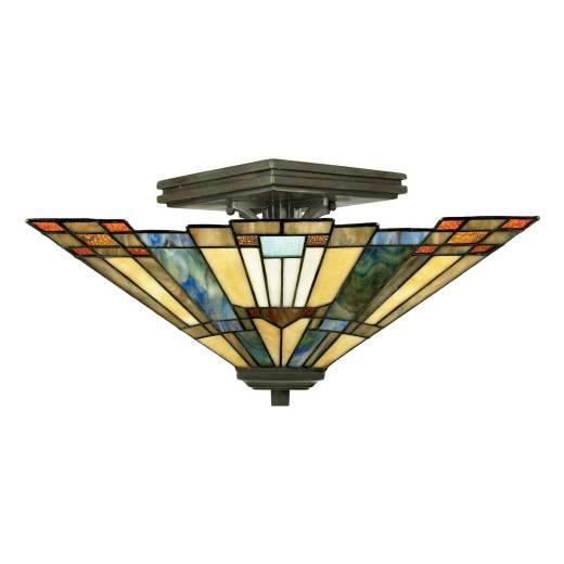 Tiffany Deckenlampe ETERNO 5 Buntglas Wohnzimmer