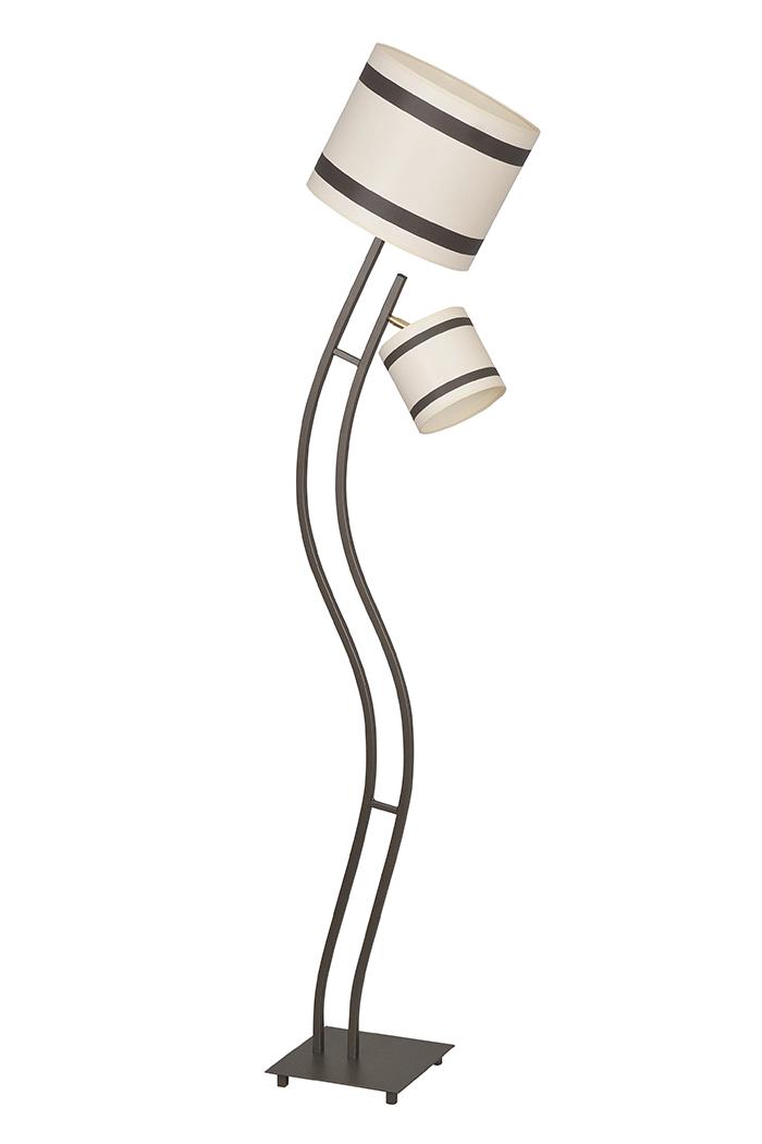 Stehlampe Textilschirm Beige Braun Wohnzimmer