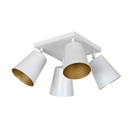 Deckenstrahler Weiß Gold Metall Retro 4-flammig E27
