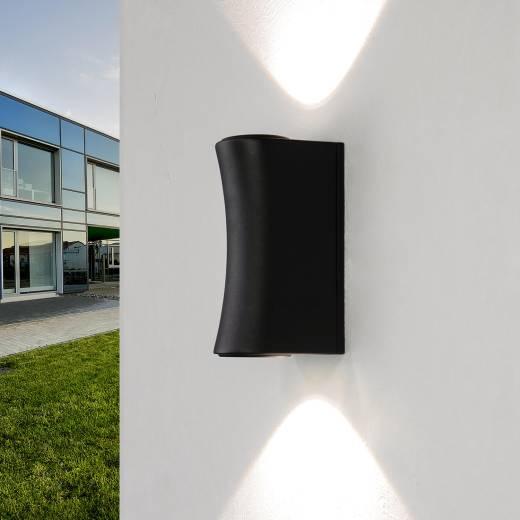 LED Wandlampe AALBORG außen Up Down Design Schwarz