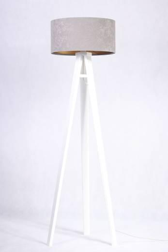 Retro Stehlampe JERRY Grau Gold 140cm Wohnzimmer