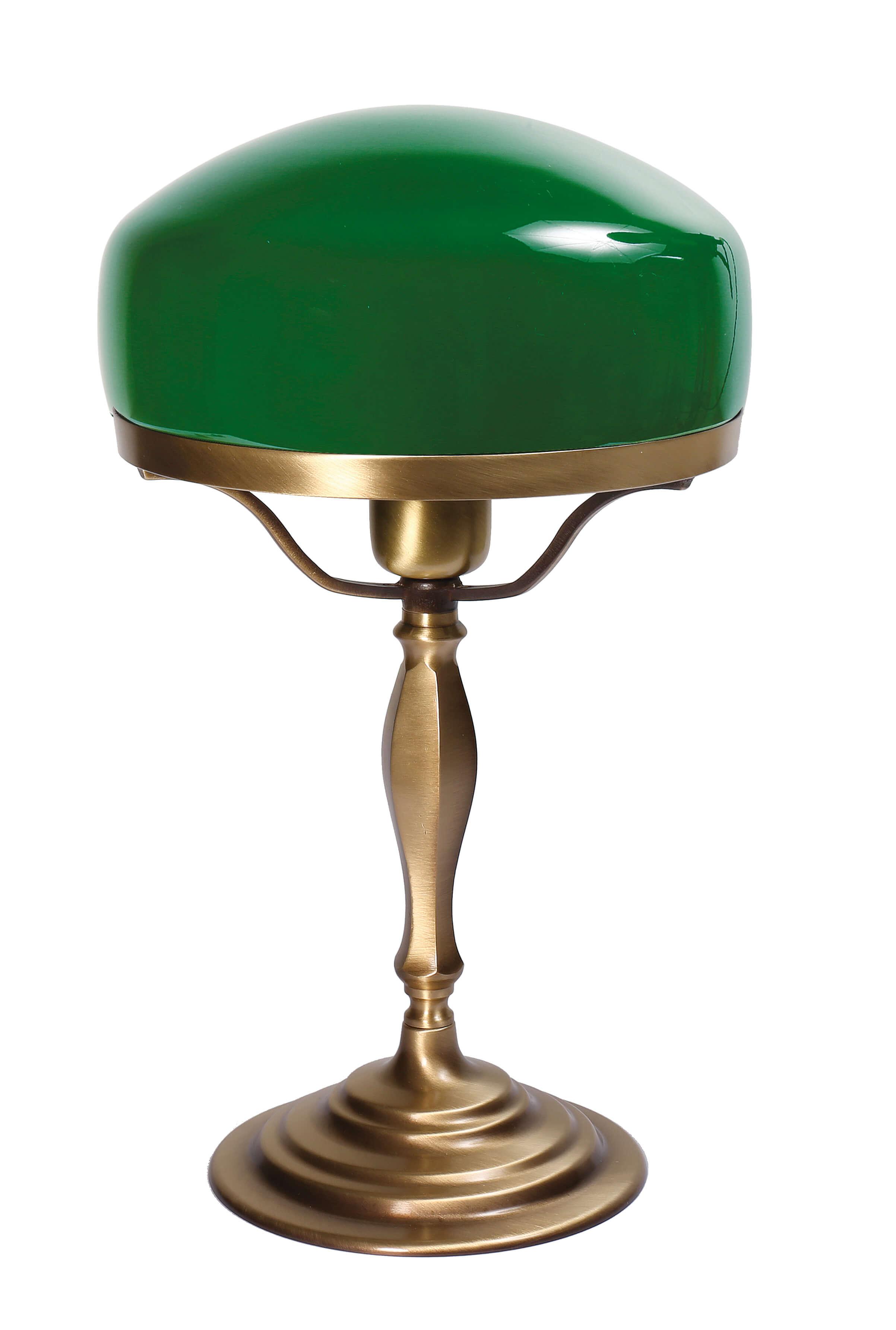 Tischlampe Glasschirm Grün aus Echt-Messing