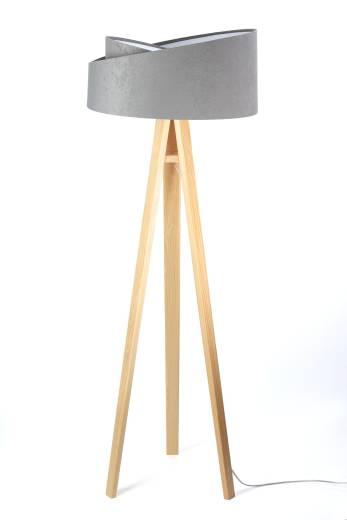 Dreifuß Stehlampe Holz Grau Weiß 145cm Wohnzimmer
