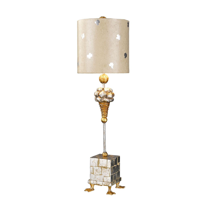 Tischlampe AMIN Blattsilber 102cm Ø23cm Bodenlampe