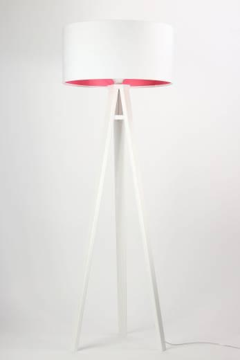 Stehlampe Weiß Pink Holz 140cm Retro Wohnzimmer
