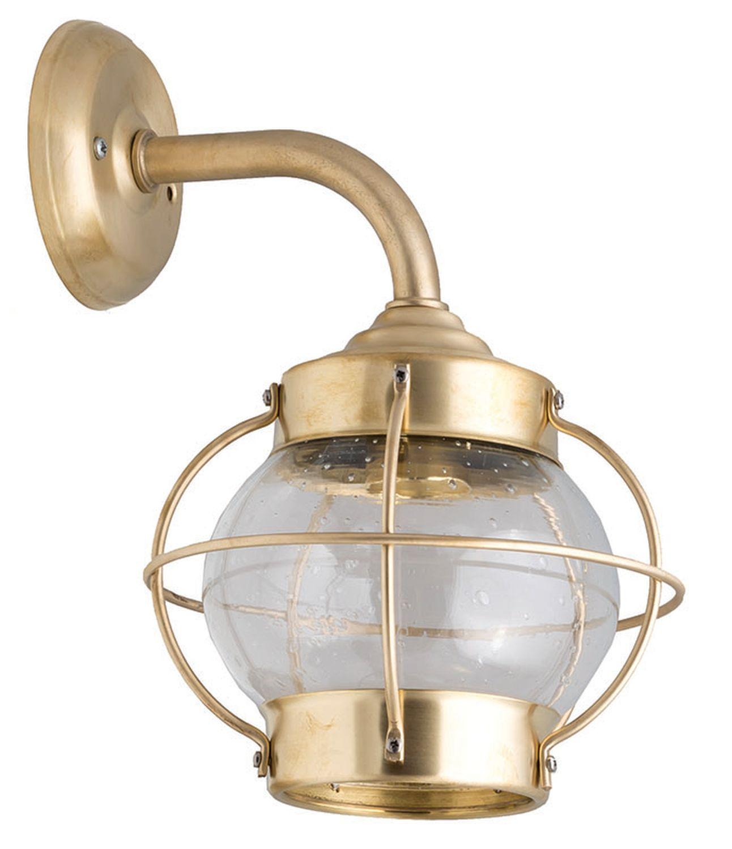 Wetterfeste Wandlampe PATRAS Messing Maritim außen