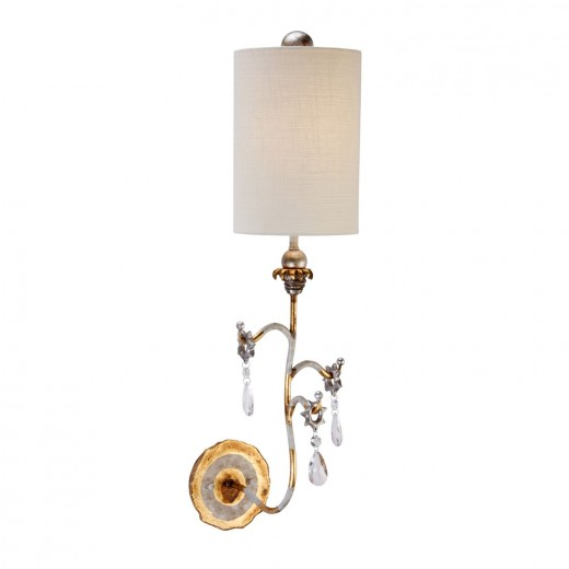 Wandlampe VICA in Gold Seide Kristall B19cm Lampe