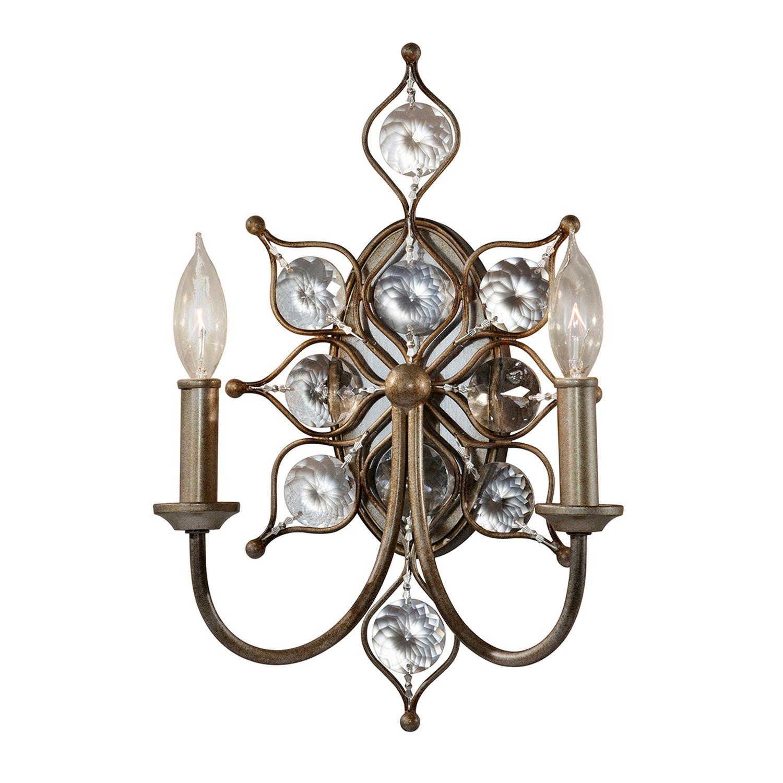 Wandlampe VELA Silber floral 2xE14 Modern Lampe