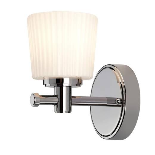 Premium Badlampe POLI mit LED IP44 Chrom Weiß Riffelglas