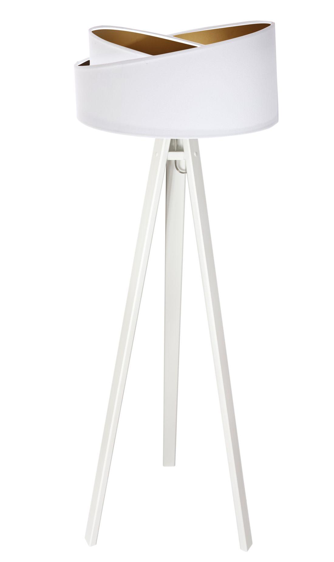 Stehlampe AYLA Weiß Gold Dreibein 145cm Wohnzimmer