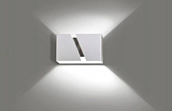 Up Down Wandleuchte Weiß Metall eckig Modern Design
