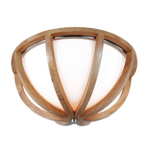 Wohnliche Deckenleuchte ARBARO Holz Glas Rustikal rund