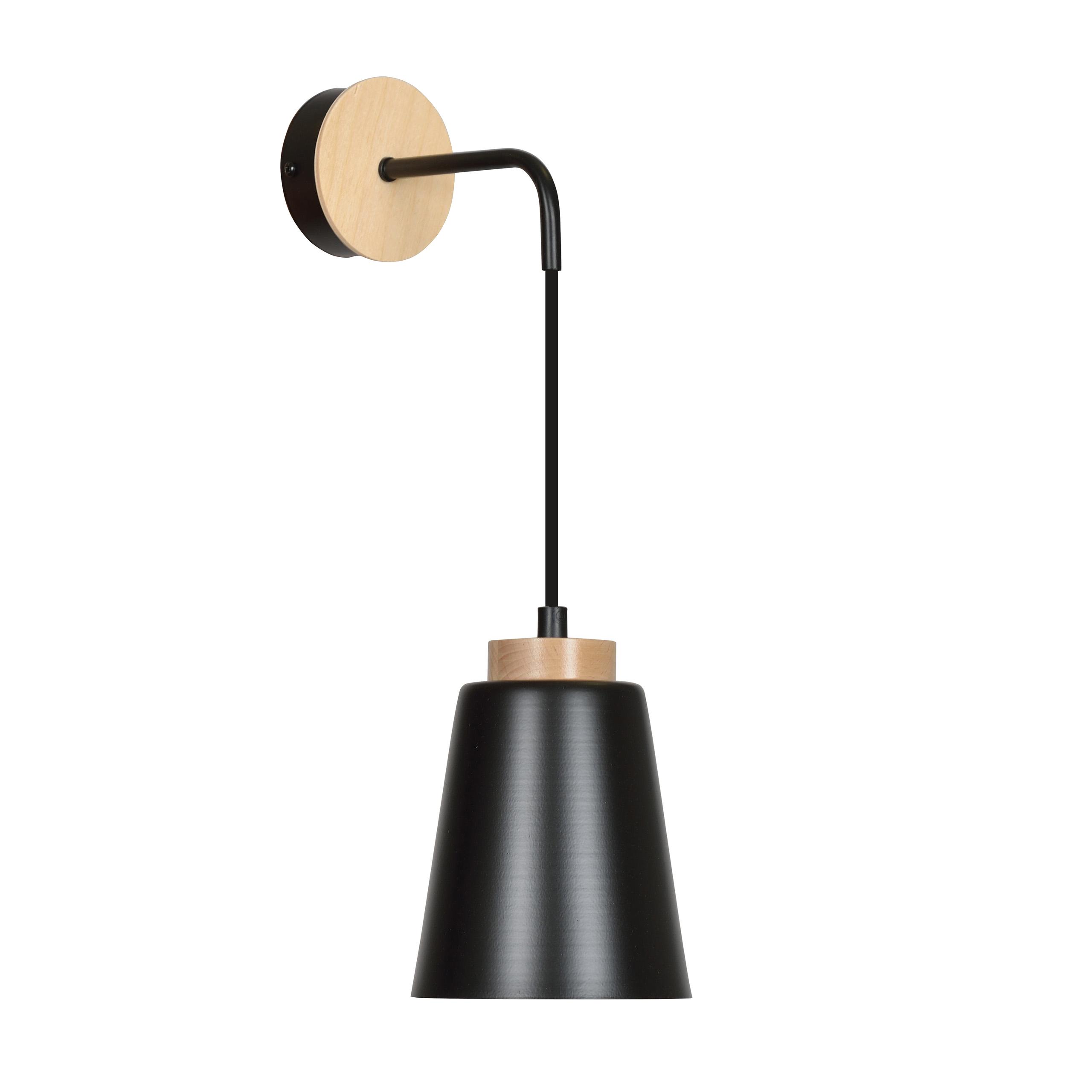 Wandlampe Schwarz Metall Holz Skandinavisch ROGER