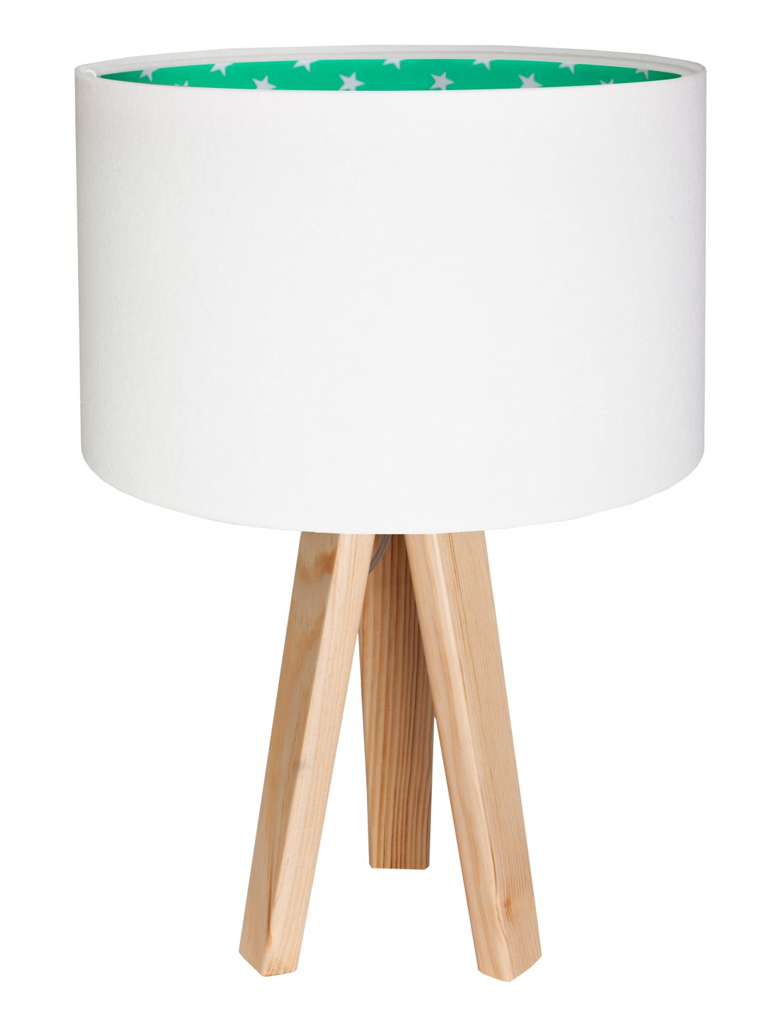 Tischlampe Dreibein Holzleuchte Weiß Grün Stoff BECKA