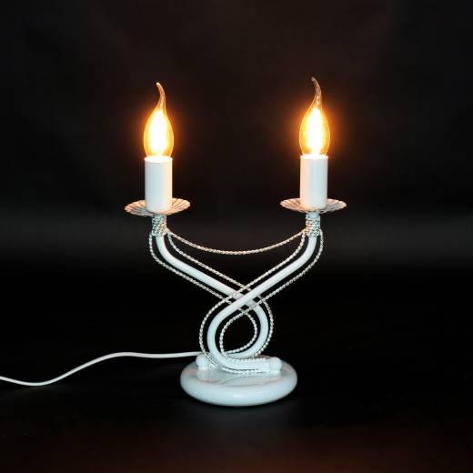 Tischleuchte Weiß Gold Metall 2-flammig E14 Kerzen