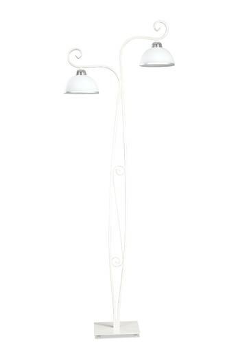 Stehlampe Weiß Metall Glas satiniert 160cm 2x E27