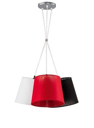 Hängeleuchte Modern Rot Weiß Schwarz Stoff ERIKA
