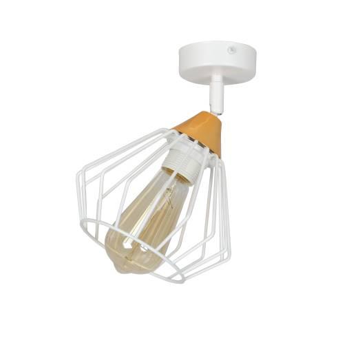 Käfiglampe Weiß Kupfer Gitter verstellbar E27