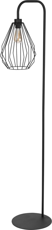 Schwarze Stehlampe 153cm offener Draht Schirm
