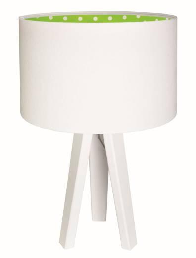 Tischleuchte Weiß Grün Dreibein Stoff Schirm Holzlampe
